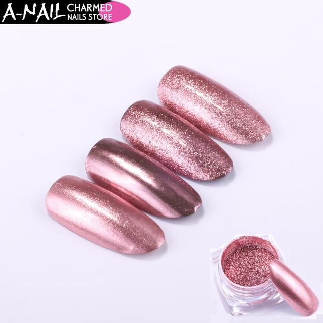 -Uñas 0,2 g/caja de alta calidad espejo oro rosa uñas polvo Gel UV esmalte de uñas cromo pigmento de decoración de uñas herramienta