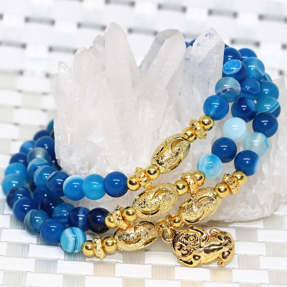 c9f47528a الأزرق الحجر الطبيعي الأوردة الجزع أغات العقيق سعر المصنع مرونة حبلا متعدد  الطبقات أساور 6 ملليمتر جولة الخرز ewelry B2238