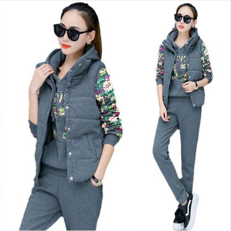 Sportsuit Women Winter 3 Piece Set Hoodies + Vest + Pants Women's Tracksuit Plus Velvet Thicken Sweat Suits Female Sportswear