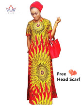 2016 African Women Riche Bazin Straight 100% Cotton Material Free Head Scarf  Lady Long Dress Maxi Size WY843