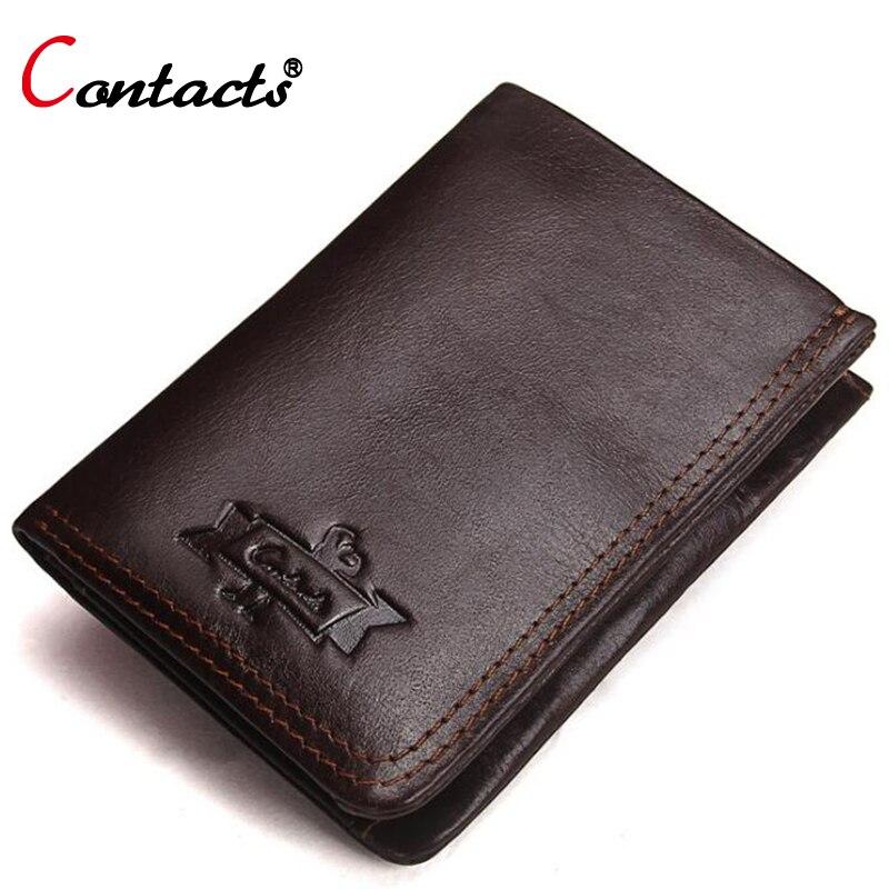 все цены на  CONTACT'S Genuine Leather Men Wallet Male Purse Male Clutch Credit Card Holder Coin Purse Money Bag Small Slim Wallet Minimalist  онлайн