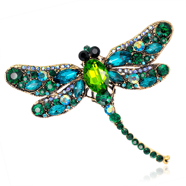 Young Tulip Crystal Vintage Dragonfly Brooches for Women Large Insect Brooch Pin Fashion Dress Coat Accessories Cute Jewelry