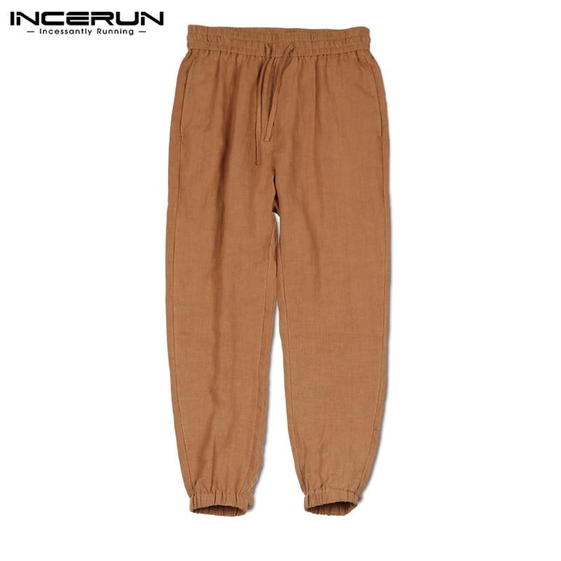 INCERUN Men's Pants Nine Points Pants Solid Color 2020 Summer Casual Streetwear New Drawstring Loose Beam Foot Pantalones Hombre