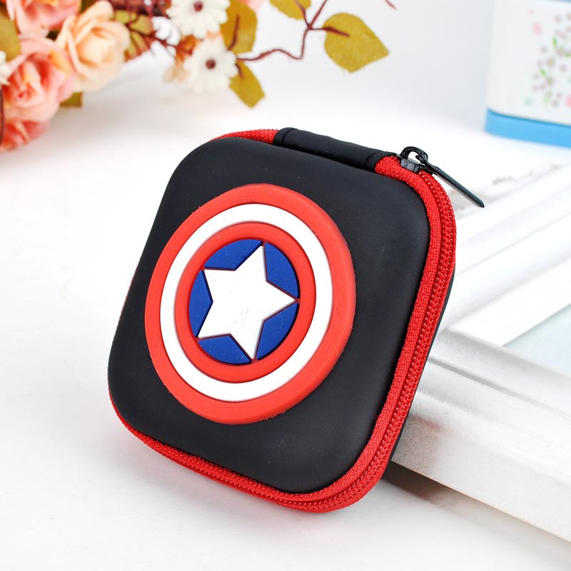 Kawaii Cartoon Silicone Coin Purse Super Hero Captain America Anime Coin Bag Mini Wallets Headset Zipper Holder Gift Kids Wallet anime my neighbour totoro cute card bag wallet holder zipper kawaii gray hanging