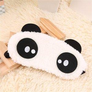 Fashion Cute Design Plush Panda Face Eye Travel Sleeping Soft Eye Mask Blindfold Shade Eyeshade Portable Sleeping Eye Cover