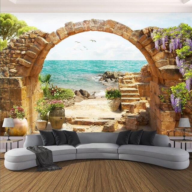 Custom 3D Mural Wallpaper Garden Stone Arch Sea View 3D