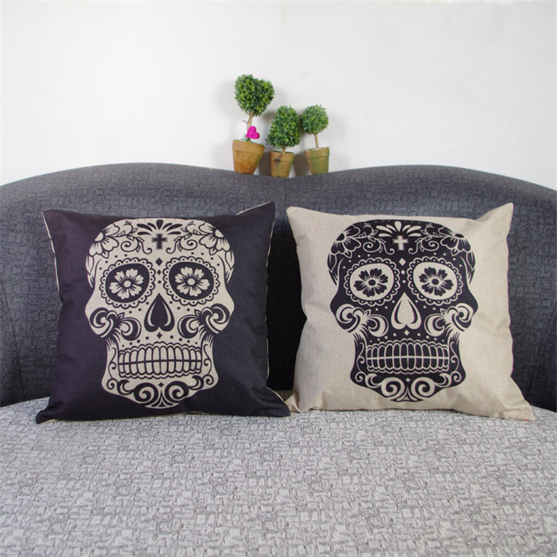 44x44cm Black Skull Halloween Linen Decorative Cushion Covers Throw Pillow Cases for Sofa Couch All Hallows Eve Gift Present