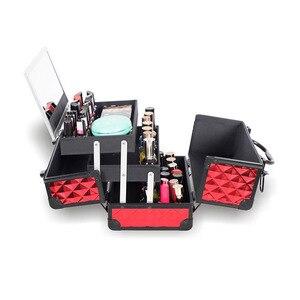 Image 4 - Yüksek Kaliteli Alüminyum alaşımlı çerçeve Makyaj Organizatör Kadınlar Kozmetik Durumda Ayna Ile Seyahat Büyük Kapasiteli saklama kutusu Bavul