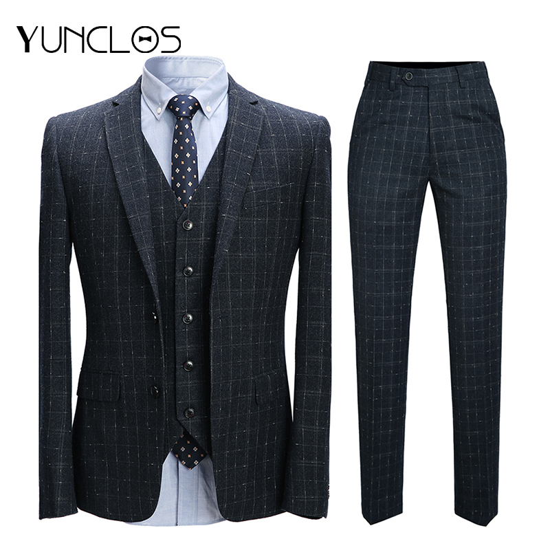 YUNCLOS 3 Pieces Plaid Men's Suits Single Breasted Business Suits Tuexdos Wedding Party Dress Casual Slim Men Suit Tuexdos-in Suits from Men's Clothing    1