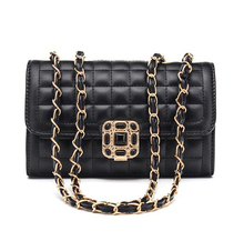 2019 Hot Sell Quilted PU Leather Handbags Chain Shoulder Straps Girls Bags
