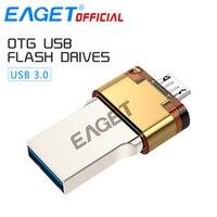 EAGET 공식 USB 3.0 플래시 드라이브 32 그램 펜 드라이브 16 그램 마이크로 USB OTG USB 메모리 스틱 휴대용 Pendrive 스마트 폰 PC 노트
