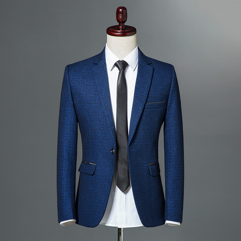 2019 Autumn Classic Men Self-cultivation Leisure Blazer Single Button Slim Fit Business Casual Jacket Wine Red Navy Blue M-3XL
