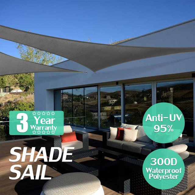 300D Oxford Farbic Black 5x5x5m Triangle Garden Awning Canopy Sunshade Waterproof Retractable Sun Shade Shelter