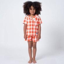 Купить с кэшбэком Spring New Boys Baby Cotton Pajamas Set Short-sleeved Shirt+Pants Children's Homeear Suit Summer Girls Plaid Loose Pajamas Set