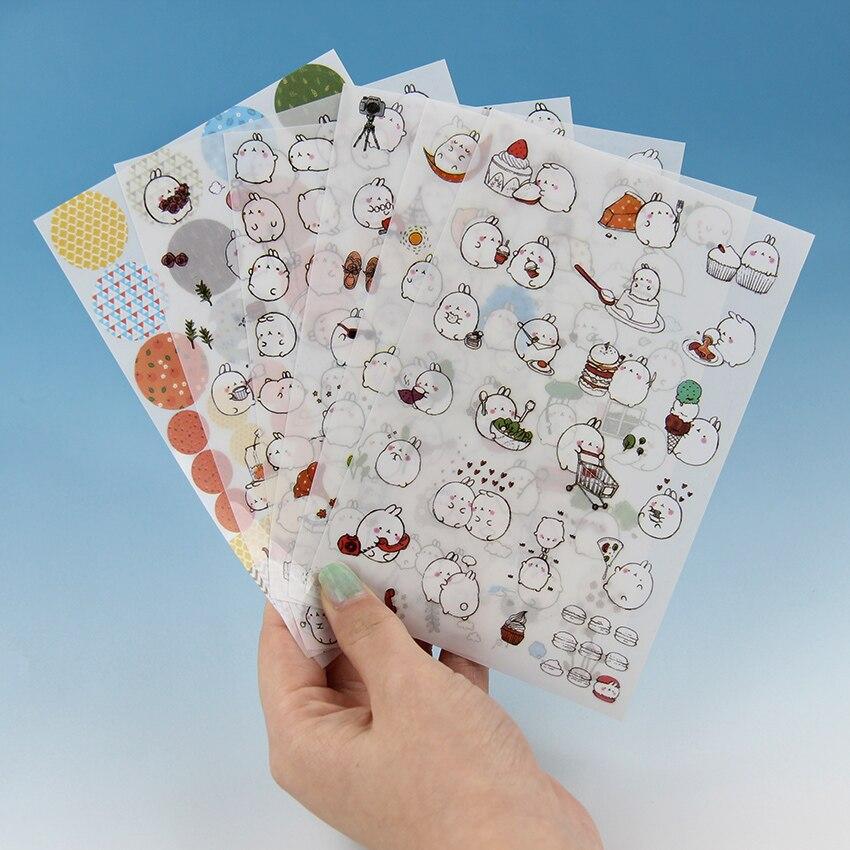 6PCS/Pack Korea Super Cute Rabbit Yuangun Pet Decorative Stickers Diary Stickers Memo Pad The Second Quarter