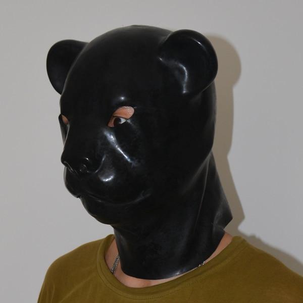 (LH5) Latex fétiche naturel pleine tête latex léopard chat cochon chien tête esclave masque en caoutchouc capuche SM masque étouffant fétiche porter