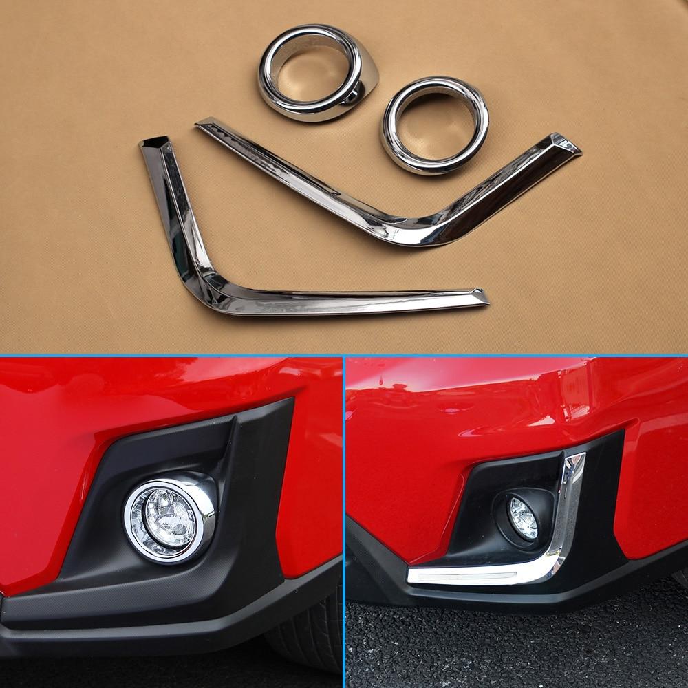 Glossy 4Pcs Kits Fog Light Ring L Strips Chrome Accessories For 2018 Subaru XV Crosstrek Front