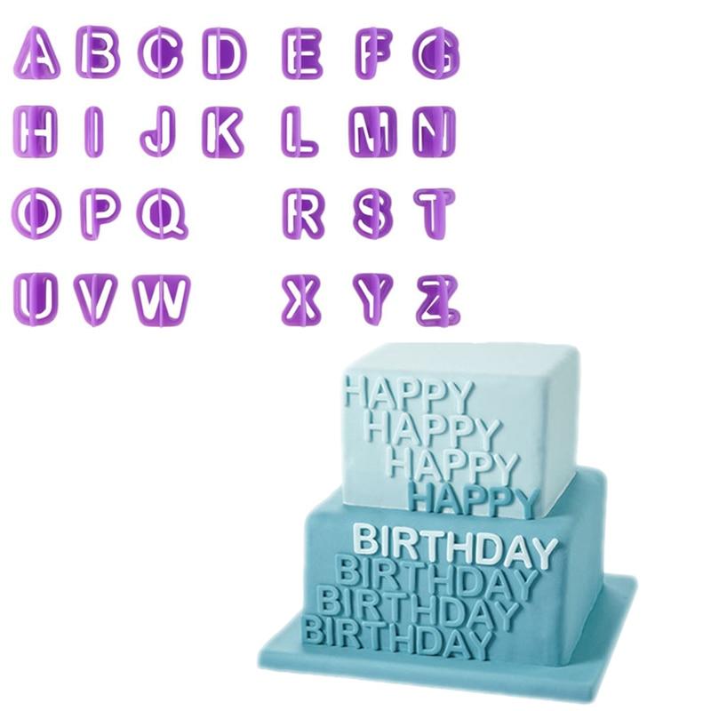 Příslušenství 40 ks číslic Dopisy Všechno nejlepší k narozeninám Plastový fondant Dort Dekorace Nástroje Písmo Abeceda Cookie Biscuit Cutter Set