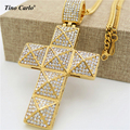 Tino Carlo 2017 New Trendy Full Iced Out CZ 3D Pyramid Cross Necklace 316L Steel  Gold Plated Men's Statement Cross Jewelry