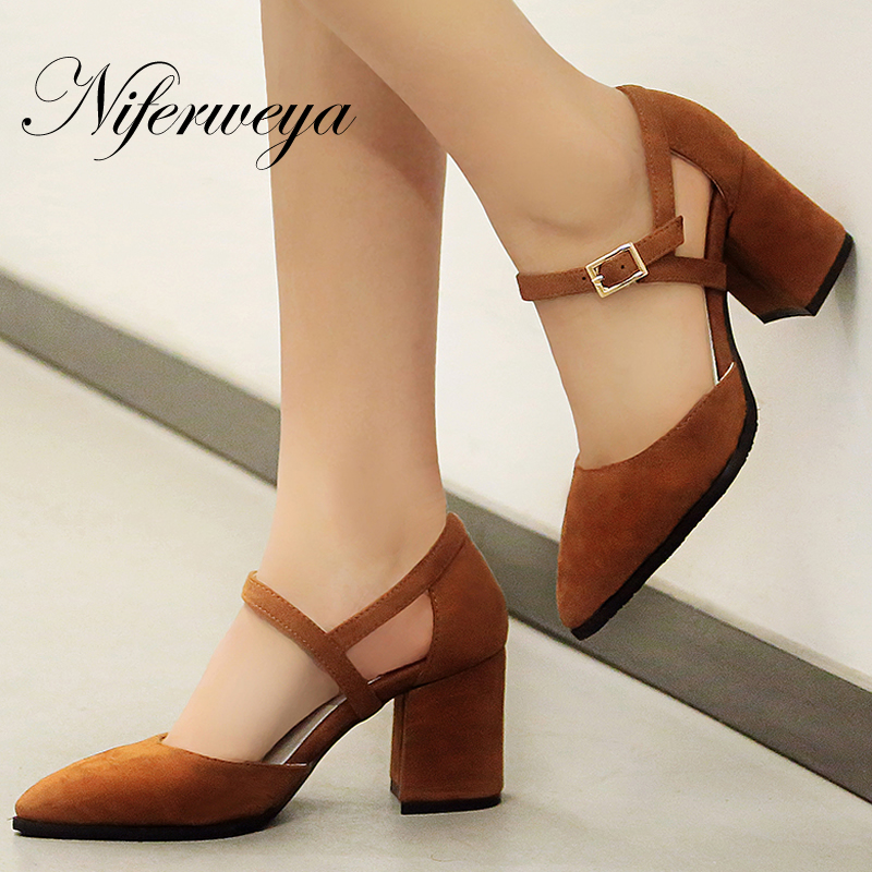 Big size 30-47 Spring/Autumn women pumps sexy Pointed Toe suede ladies shoes fashion Buckle Strap thick heel high heels egonery quality pointed toe ankle thick high heels womens boots spring autumn suede nubuck zipper ladies shoes plus size