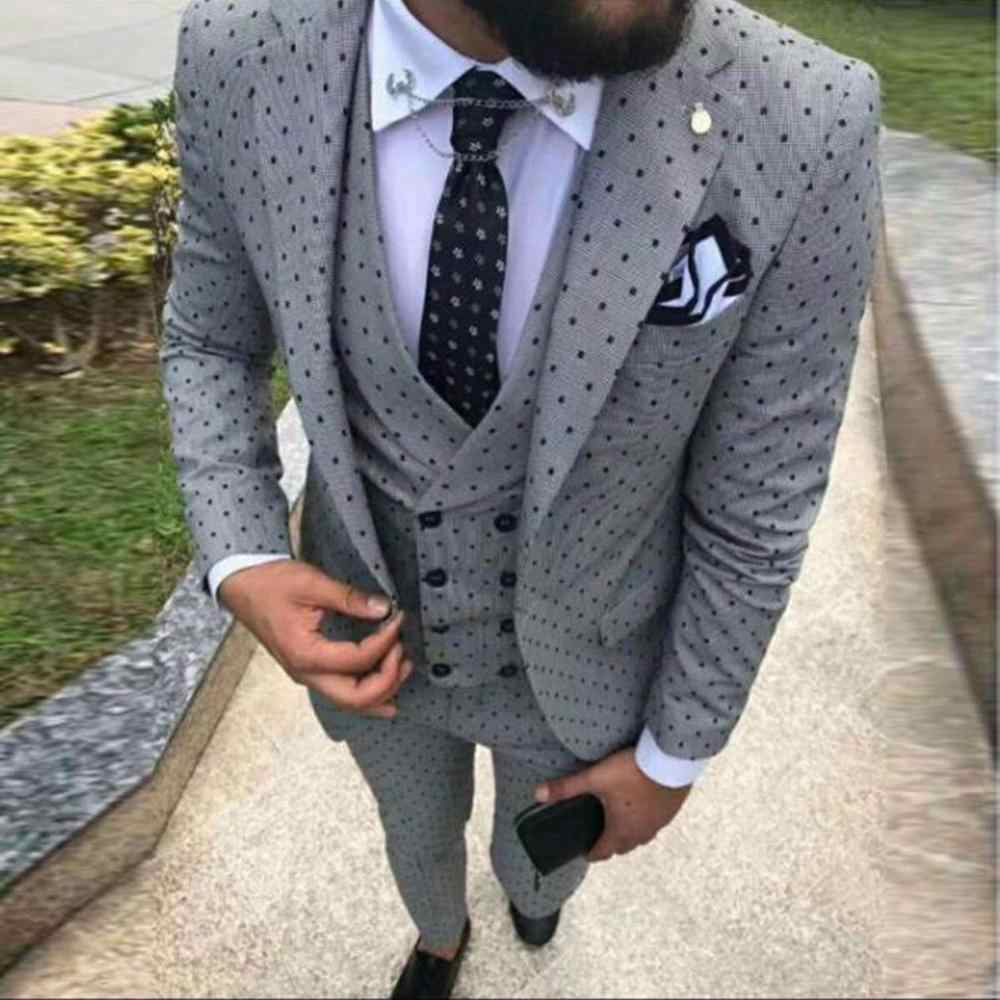 2020 Men's Poika Dot Suit 3-Pieces Latest Coat Pant Designs Notch Lapel Tuxedos Groomsmen For Wedding/party(Blazer+vest+Pants)