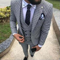 2019 mannen Poika dot Pak 3-Stuks laatste jas broek ontwerpen Notch Revers Smoking Bruidsjonkers Voor Bruiloft/ party (Blazer + vest + Broek)