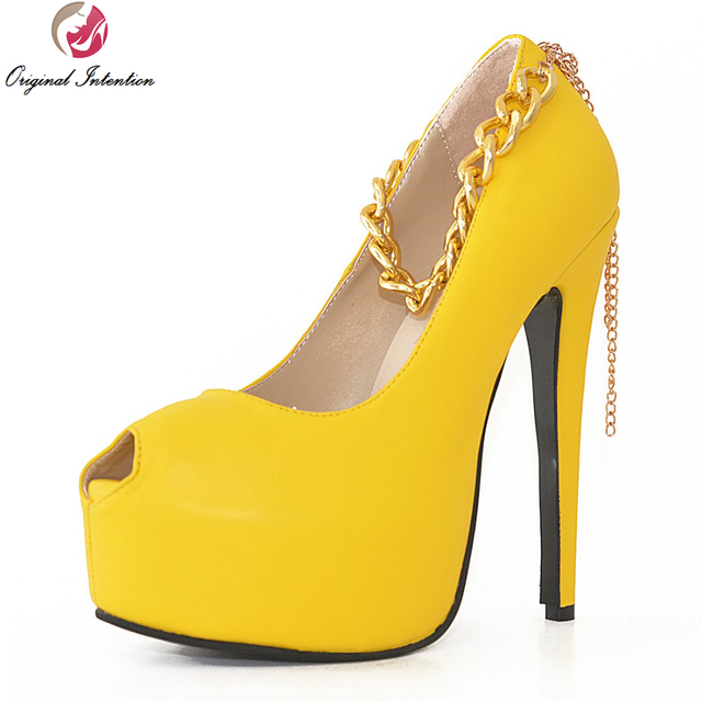 8b8c9e055e5 US $60.71 31% OFF|Original Intention New Lively Women Pumps Elegant Open  Toe Spikle Heels Pumps Yellow Green Shoes Woman Plus Size 4 15-in Women's  ...