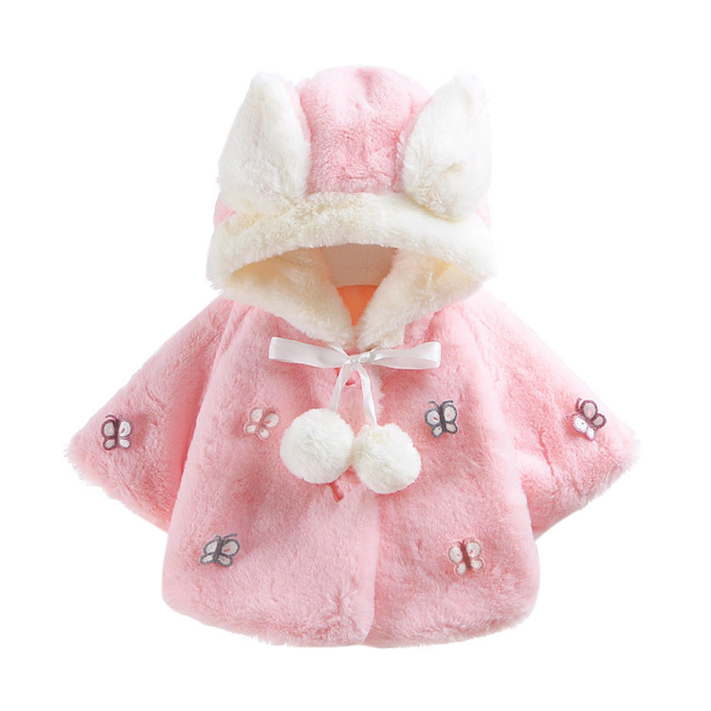 MUQGEW Baby Girl Winter Clothes Butterfly Autumn Winter Hooded Coat Cloak Jacket Thick First Birthday Outfit Girl Bebes Q06 hot sale open front geometry pattern batwing winter loose cloak coat poncho cape for women