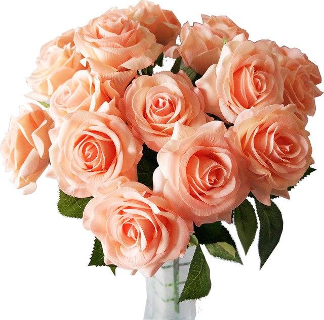 Apricot Frische Rose Kunstliche Blumen Real Touch Rose Blumen Heim