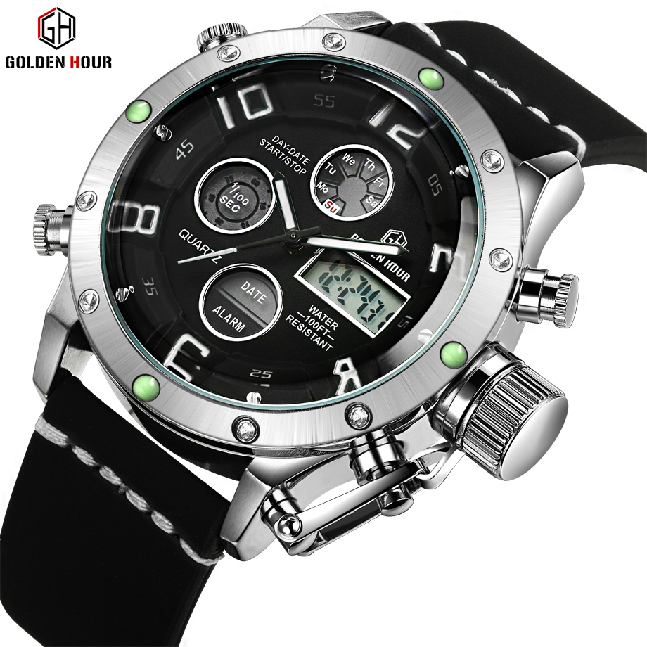 GoldenHour Men Sports Watches Waterproof Military Quartz Digital Watch Alarm Stopwatch Dual Time Brand New relogios masculinos weide 2017 new men quartz casual watch army military sports watch waterproof back light alarm men watches alarm clock berloques