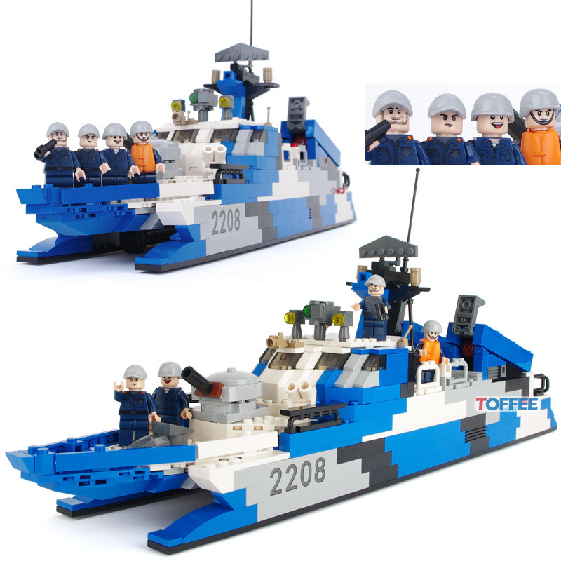 578pcs Stealth Missile Ship MILITARY Boat Model Navy Seals SWAT WW2 Army Building Blocks Bricks figures Toys Children Boys Gifts цена