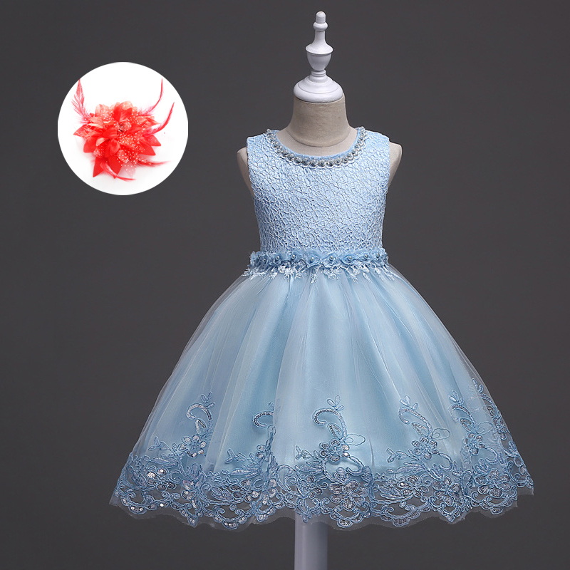 2018 Summer Children Wedding Girl Ceremony Party Baby Kids Girls Sundress White Pink Lavender Light Blue Lace Dress Kids Wedding