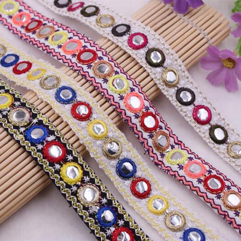 Job lot Ethnic Colorful Trim Ribbon Sewing Craft Lace Sari Border 80 cm