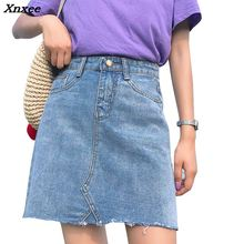 INS Women 5-pockets skirt in washed denim skirt distressed details wrapover tassel Jupe Mini Single Breasted A-Line High waist single breasted dual pockets denim skirt