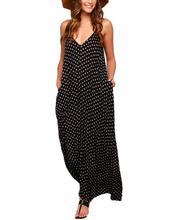 Yfashion Women Summer Sexy Wave Point Sling Dress Fashion Backless V-neck Long