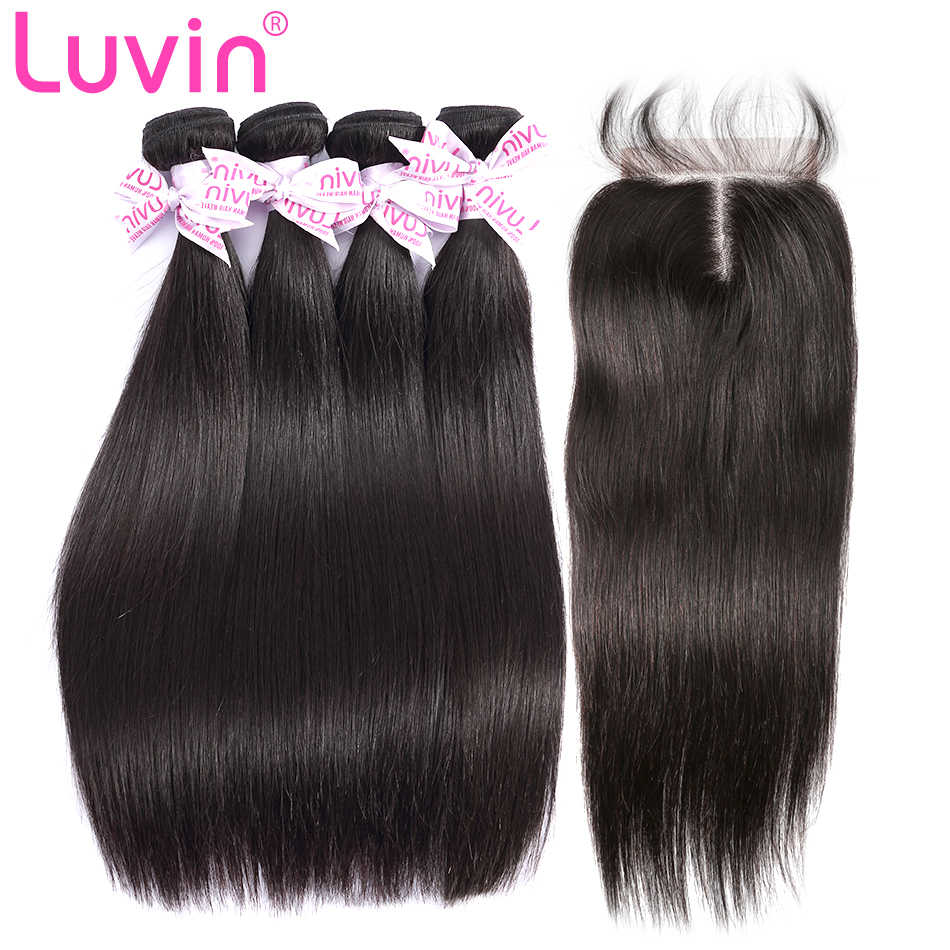 Luvin Peruvian Virgin Straight Hair 4 Bundles With Closure 100% Unprocessed Human Hair Weave Bundles With Lace Top Closure