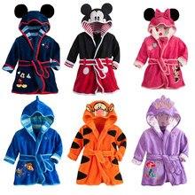 Милый детский халат; фланелевые халаты с длинными рукавами для маленьких мальчиков и девочек; купальные халаты; одежда для сна; банные халаты с капюшоном и рисунком животных; одежда для малышей