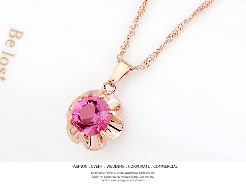 fashion Woman Gift Jewelry Sets pink AAA CZ Cubic Zircon Crystal rose gold Earring ring Pendant Necklace Sets Wholesale