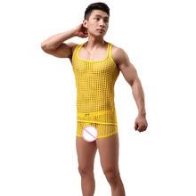Męskie siatkowe piżamy komplety seksowna męska bielizna snu topy koszulki spodenki Hollow przepuszczalność przezroczysty kombinezon nocny tanie tanio Mężczyźni Bez rękawów Stałe Nylon Poliester O-neck 03-1799f REGULAR WOXUAN Pajamas S M L XL black blue red white yellow army green