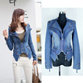 Fashion Star Jeans Women Punk Spike Studded Shrug Shoulder Denim Cropped VINTAGE Jacket Coat Womens winter jackets and coats