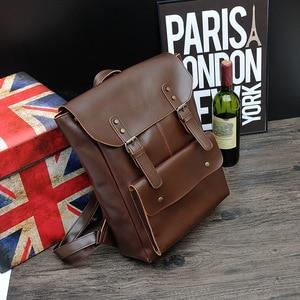 Image 2 - New Vintage Men Hasp Backpack England Style Fashion Retro Crazy Horse Leather Backpacks Mens Bag Mochila Male Bolsa Sac