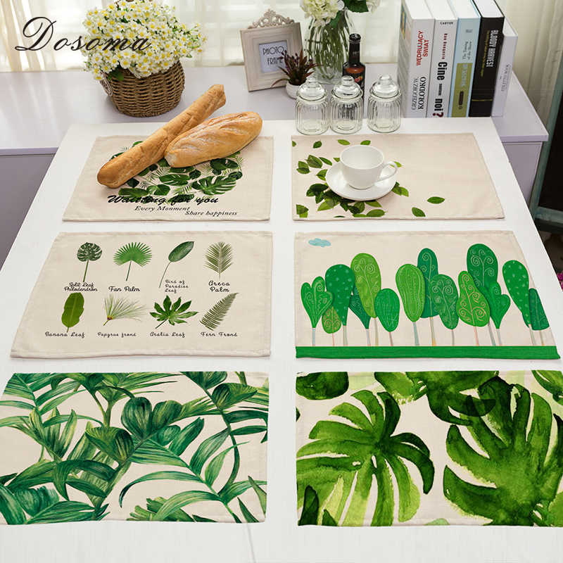 Green Leaf Print Cotton Linen Placemat For Dining Table Stand Under The Hot Coasters Dish Mat Kitchen Accessories Pads 42*32CM
