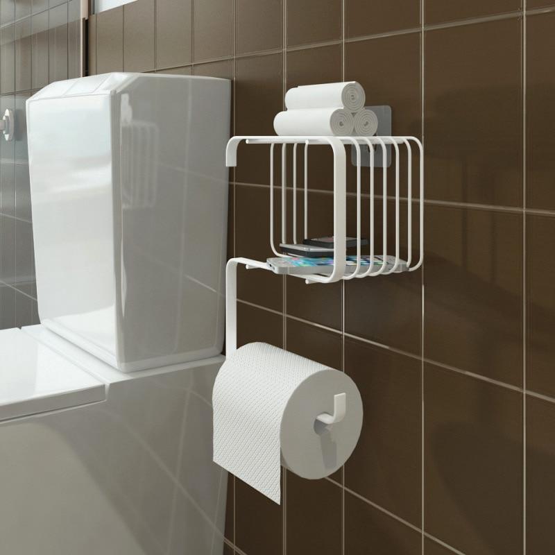Porte-serviettes créatif salle de bains toilette cuisine toilette mur Rack gratuit poinçon tenture murale rouleau de papier LW1227351