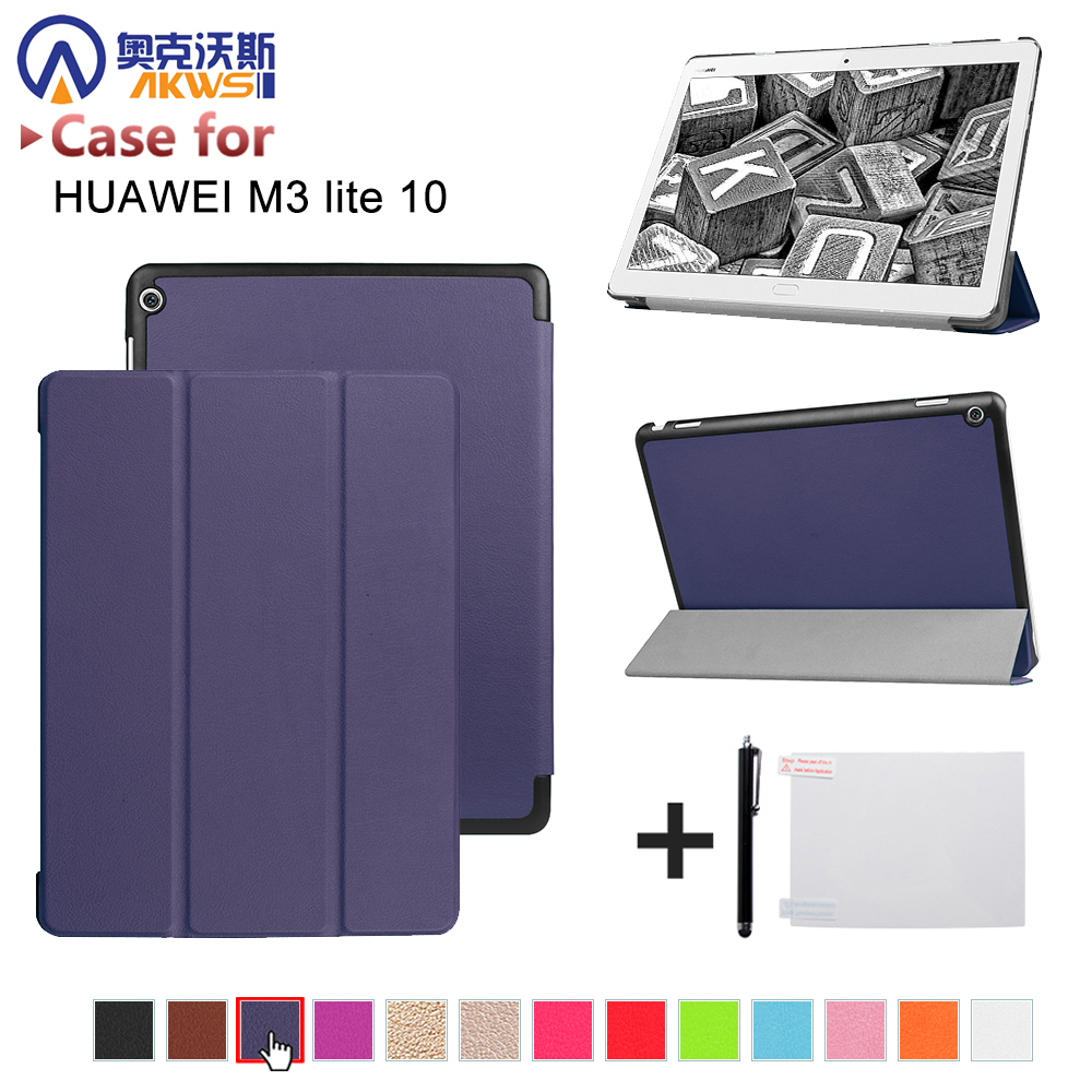 Funda cover case for 2017 Huawei MediaPad M3 Lite 10 tablet protective cover skin case for BAH-W09 BAH-AL00 10 tablet luxury cover case for huawei mediapad m3 lite 10 bah w09 bah al00 10 1 funda tablet hand holder flip stand pu leather skin