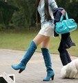 Moda mulheres Simples botas sapatos de camurça de alta joelho-botas Cavaleiro 4 cores da motocicleta botas salto alto lazer cavaleiro geração Baok-818