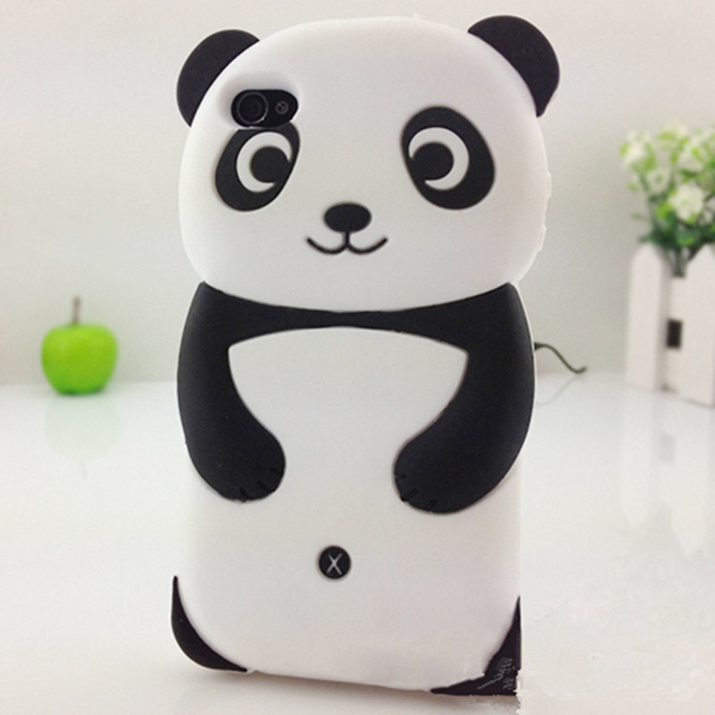 New Arrivals Cute 3D Panda Soft Silicone Skin Protective phone Case Cover For iPhone 5 5S-free shiping
