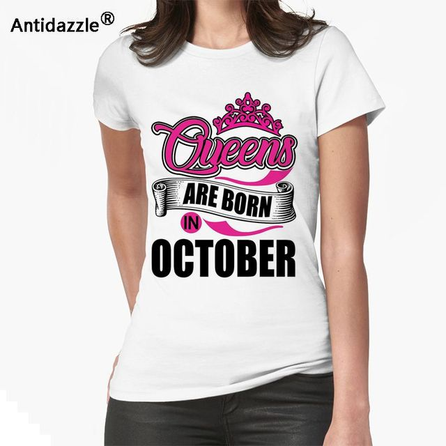 6b086bcf2 Antidazzle New Arrivals Newest Deadpool Queens are born in October Women T  shirt T shirt Hipster Funny Cartoon Tees Tops