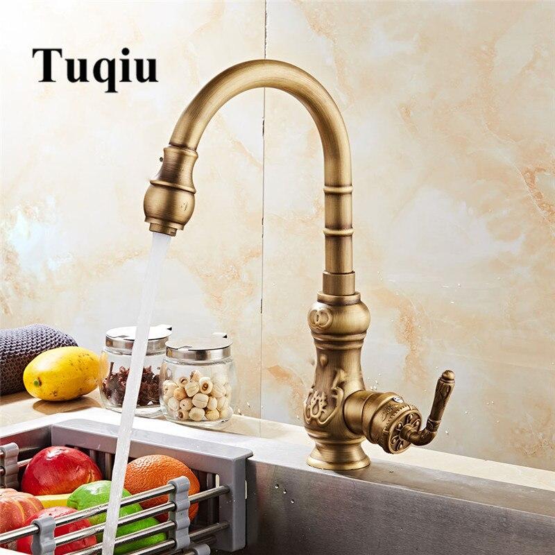 Kitchen faucet Antique Copper Tap cold hot Carved Sink faucet Vegetable wash basin sink mixer 360