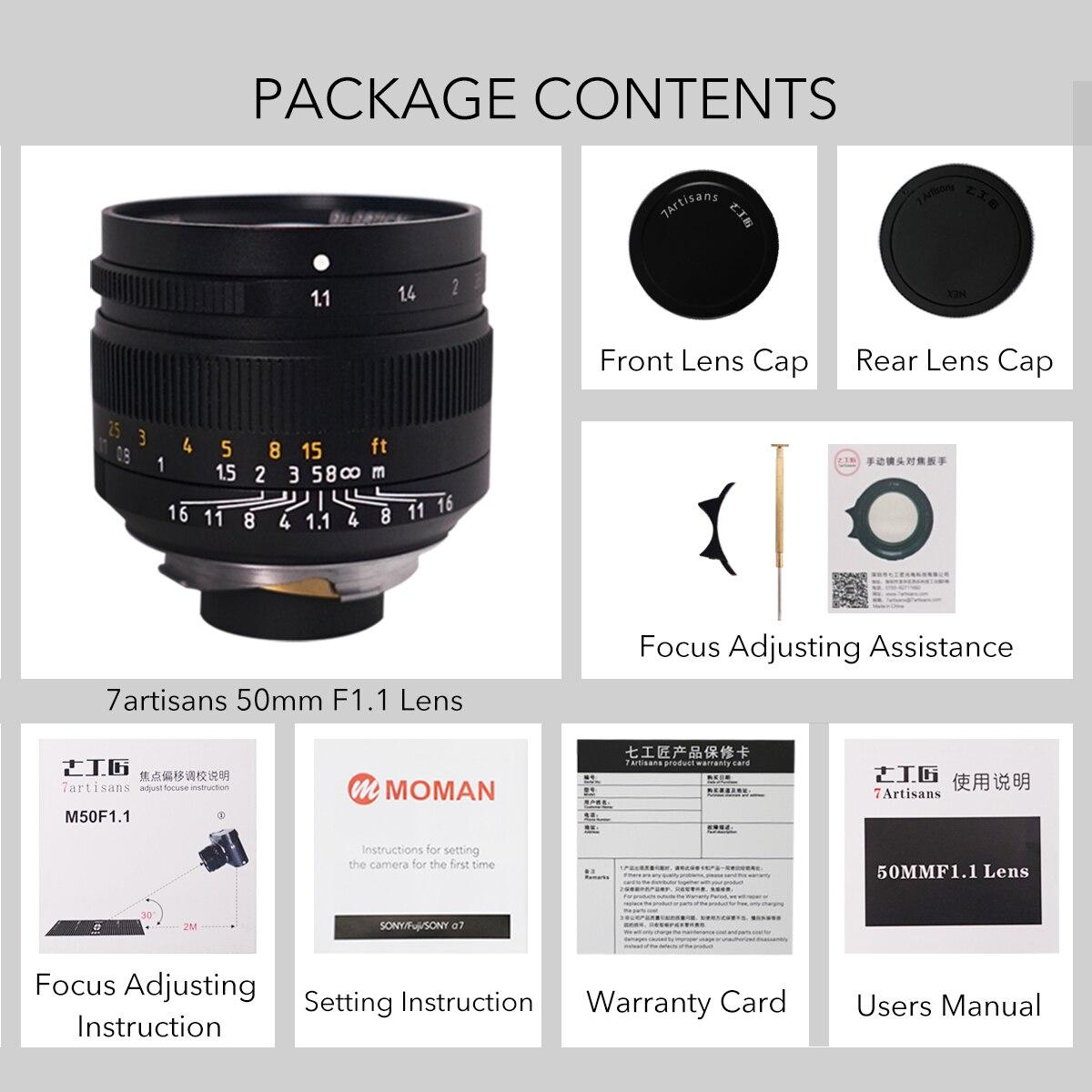 7 artesanos 50mm F1.1large apertura Paraxial M montaje de la lente para las cámaras M M240 M3 M5 M6 M7 M8 M9 M9p M10 - 4
