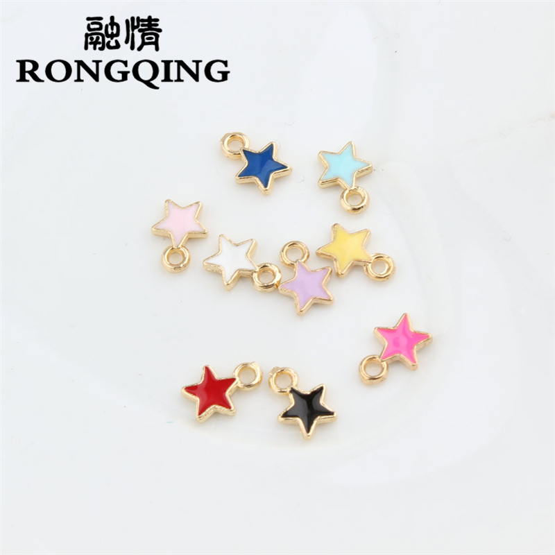 RONGQING 20pcs/lot Oil Drop Zinc Alloy Colourful Five-pointed star charm pendant charms for jewelry making Floating Enamel DIY
